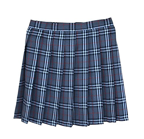 Women School Uniforms plaid Pleated Mini Skirt,6,Gray