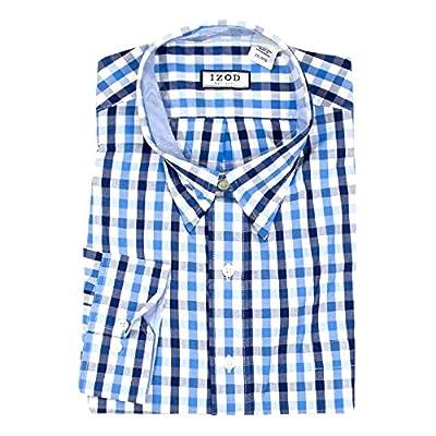 IZOD Men's Long Sleeve Button Down Collar Woven Plaid Dress Shirt