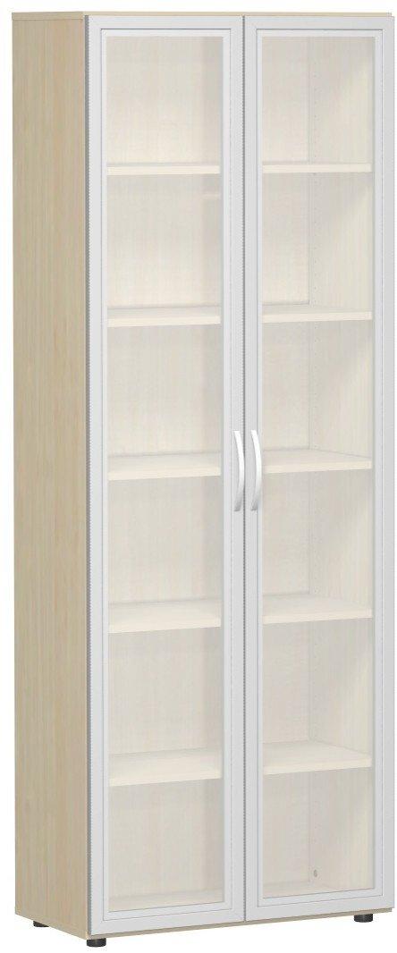 Geramöbel Flügeltürenschrank mit satinierten Glastüren im Holzrahmen, mit Standfüßen, inkl. Türdämpfer, nicht abschließbar, 800x420x2160, Ahorn