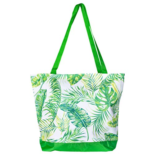 Large Shopper Zipper Palm Tree Leaves 18 x 14 Microfiber Fabric Tote ()
