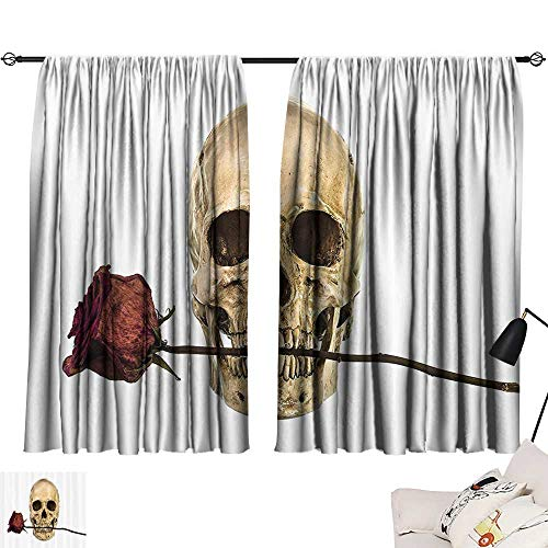 (Blackout Drapes Gothic Decor Collection,Skull with Dry Red Rose in Teeth Anatomy Death Eye Socket Jawbone Halloween Art,Ivory White W63 x L63 Room Darkening Curtains for Boys)
