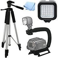 Advanced Professional ACTION Kit: Pro Tripod + Pro Stabilizing Grip + LED Video Light For Samsung HMX-F90, Video Light, Tri-pod, Scorpion Grip, Multipurpose Camcorder/Camera Studio Support