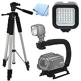 Advanced Professional ACTION Kit: Pro Tripod + Pro Stabilizing Grip + LED Video Light For Panasonic HC-X920M, Video Light, Tri-pod, Scorpion Grip, Multipurpose Camcorder/Camera Studio Support