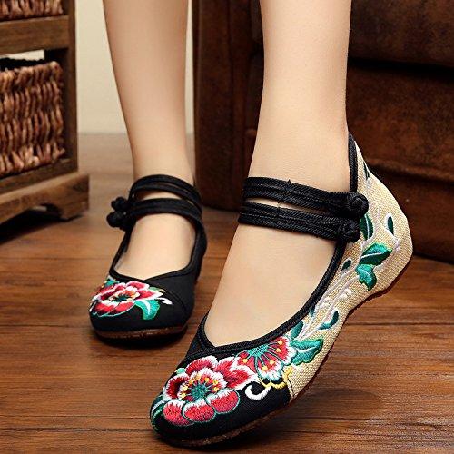KAFEI Frauen bestickte Schuhe Tanz tuch Frühjahr und Herbst Flachbild atmungsaktiv Freizeitaktivitäten runden flachen Mund täglich, 34, U
