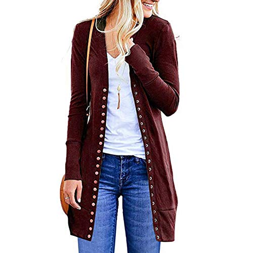 Clearance Sale! Wintialy Womens Open Front Button Down Cardigan Sweater Long Sleeve Plus Loose Drape -