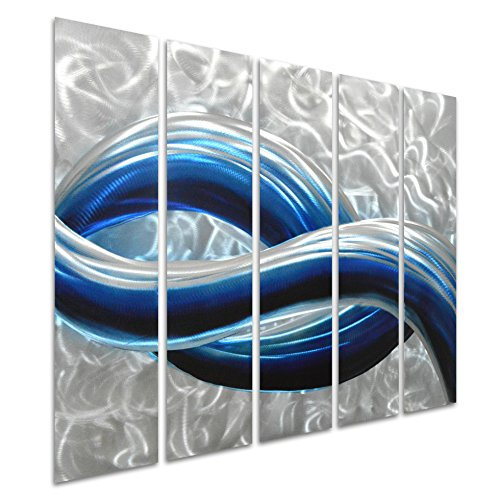Blue Skyline in Silver - Abstract Metal Wall Art - Modern Hanging Sculpture Set of 5 Small Panels - Decoration of 34