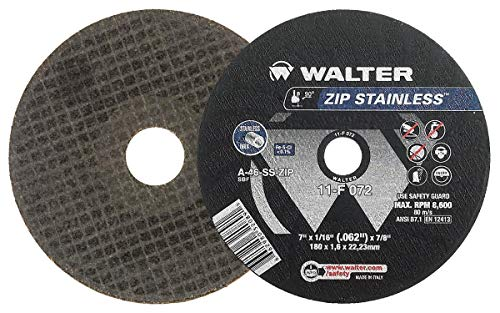Walter 11F072 ZIP Stainless Cutoff Wheel - [Pack of 25] A-46-SS ZIP Grit, Type 1, 7 in. Abrasive Wheel for Cutting Pipes, Hard Surfaces
