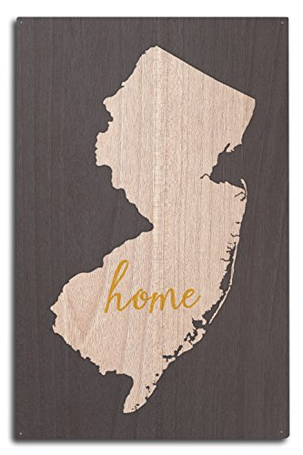 15 Home Jersey - New Jersey - Home State - White on Gray (10x15 Wood Wall Sign, Wall Decor Ready to Hang)