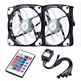 Wigbow Infrared Controller 120mm 2 Case Fan Computer Cooling Fan 2pcs 18 leds 30cm LED Strip Light for PC 2-pack(black)