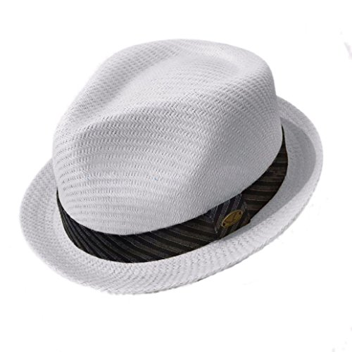 Stingy Brim Fedora Trilby (New fashion Fedora Hat Summer Men's Straw Mesh Porkpie Stingy Brim Dress Trilby Cap)