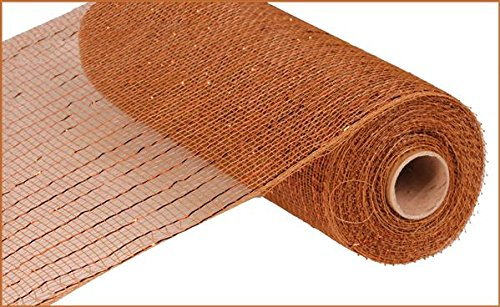 10 inch x 30 feet Deco Poly Mesh Ribbon - Value Mesh (Brown, Copper Foil)