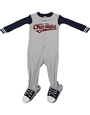 Carter's Baby Boys Size 12 Months Full Front Zip Footed Bodysuit Gray/Blue