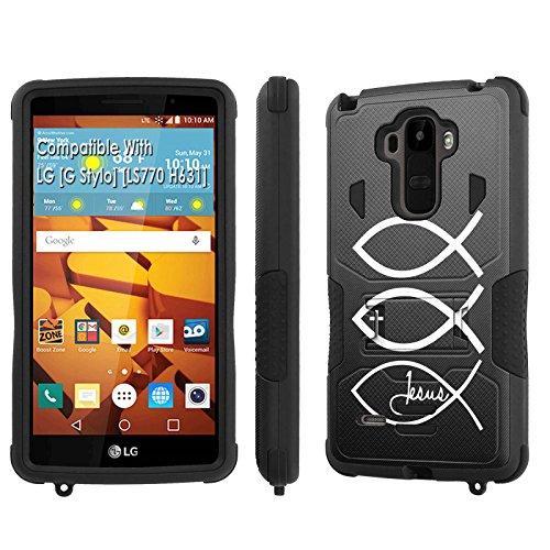 LG [G Stylo] Tough Case [SlickCandy] [Black/Black] Hybrid Combat [Kick Stand] [Shock Proof] Phone Case - [Jesus Christian] for LG [G Stylo] [LS770 H631] -  P-LGLS770-1E1-BKBK-VRI-P074C