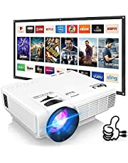 """DRJ Professional 7500Lumens Mini Projector for Outdoor Movies, Full HD 1080P 170"""" Display Supported, PS4,TV Stick, Smartphone, USB, SD Card Supported"""