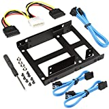 SHARPALIN 3.5 Inch to x2 SSD/2.5 Inch Internal Hard Drive Mounting Kit (3x SATA Data Cables and Power Cables included)