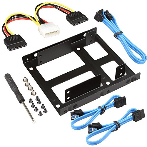 Pc Internal Hard Disk (SHARPALIN 3.5 Inch to x2 SSD/2.5 Inch Internal Hard Drive Mounting Kit (3x SATA Data Cables and Power Cables included))