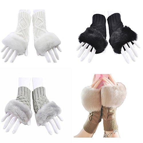 MineSign Women's Winter Gloves Faux Rabbit Fur Knit Fingerless Hand Wrist Glove