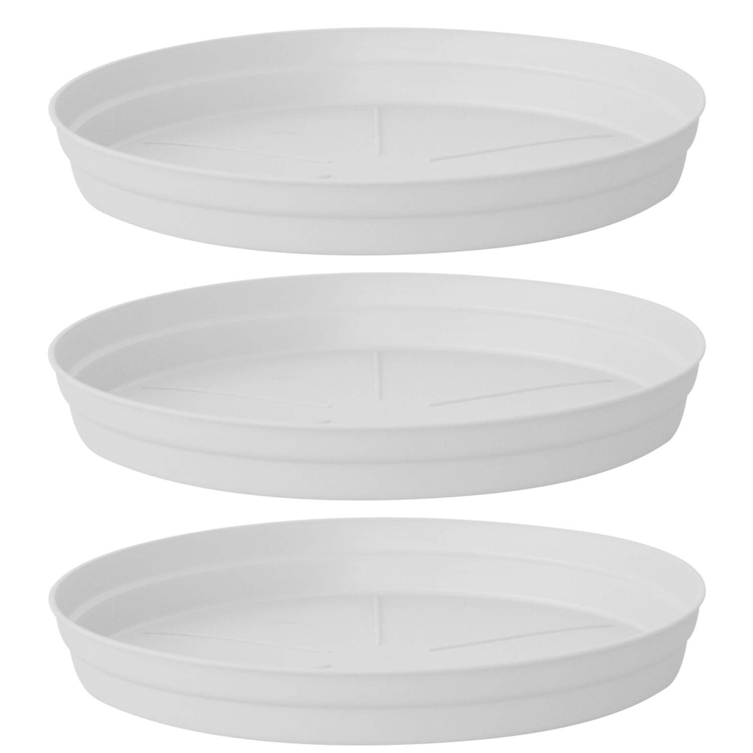 ALMI Carmel Plastic Plant Saucer Drip Tray 12-inch [3 Pack] Ideal for 19-inch Round Base Planter - for Plants, Flowers, Pot, Indoor, Outdoor - White by ALMI