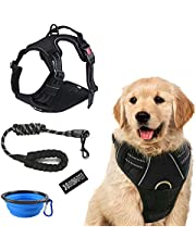 Dog Vest Harness and Leash Set, No Choke Reflective Oxford Harness Adjustable Soft Padded Pet Vest & Heavy Duty 5ft Dog Leash Set for Small to Large Dogs, Bonus Collapsible Dog Bowl and a Badge(M)