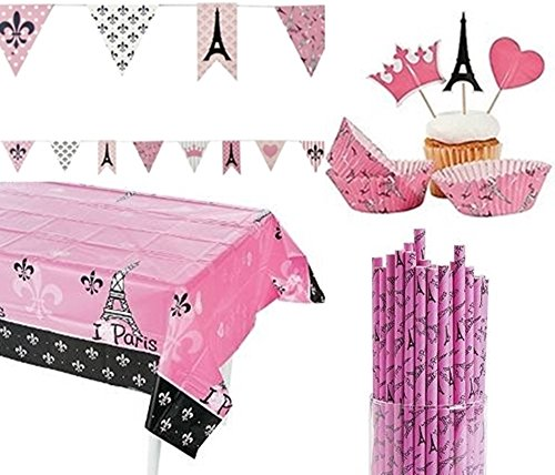 PARIS Party KIT - France set includes - table cover, pennant banner, straws, cupcake baking cups and (Paris Party Decorations)