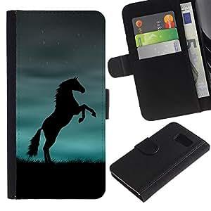 Graphic Case / Wallet Funda Cuero - Horse Black Blue Powerful - Samsung Galaxy S6 SM-G920