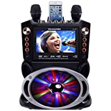 Karaoke USA GF846 DVD/CDG/MP3G Karaoke Machine with 7' TFT Color Screen, Record, Bluetooth and LED Sync Lights