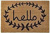 "Home & More 121812436 Calico Hello Doormat, Natural/Black, 24"" x 36"" x 0.60"""