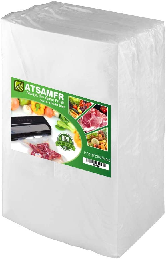 ATSAMFR 200 Count Gallon11x16Inch Vacuum Sealer Food Saver Bags with BPA Free,Heavy Duty,Great for Vac storage or Sous Vide Cooking