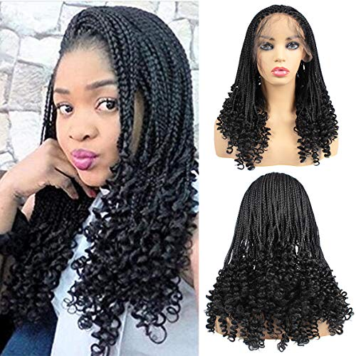 Leeven 20 Inch Natual Black Micro Braiding Hair Wigs with Curly End Synthetic Lace Front Box Braids Wig Half Braided Wigs For Black Women Wigs With Baby Hair