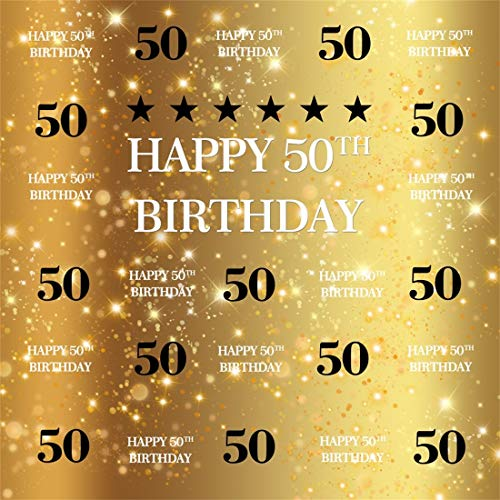 Yeele 6x6ft Vinyl Photography Background Parents 50th Birthday Shiny Golden Bokeh Backgrounds Father's Mother's Happy Fifty Years Old Birthday Party Photo Backdrops Pictures Studio Props -
