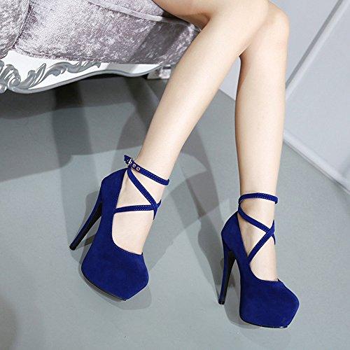 Voberry Pumps, Damen Frühlings Casual Flache Runde Zehe High-Heels Schuhe Blau