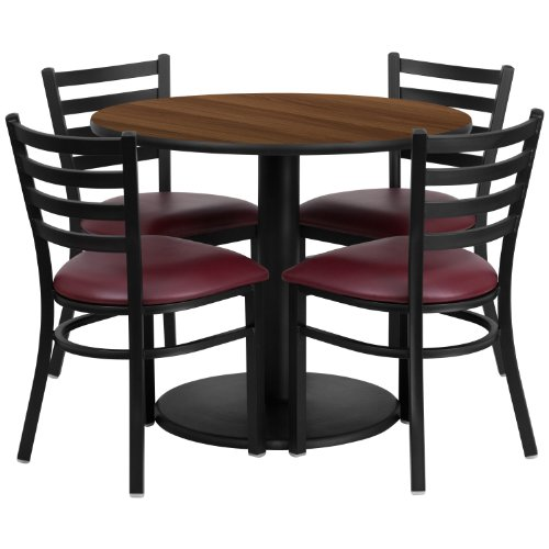 """Flash Furniture 36"""" Round Walnut Laminate Table Set with 4 Ladder Back Metal Chairs with Burgundy Vinyl Seat"""