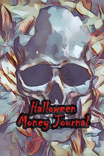 Halloween Money Journal 52 Weeks Money Planner Notebook To Debt Out or Passive Income | Skull Wallpaper Print