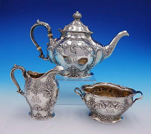 Cromwell by Gorham Sterling Silver Tea Set 3pc Art Nouveau with Flowers (#3279) ()