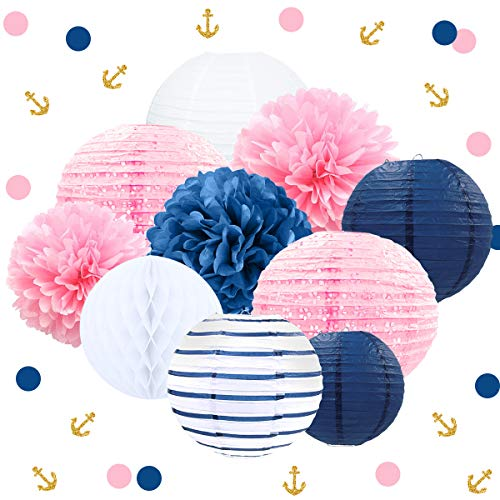 NICROLANDEE Nautical Pink Navy Blue Party Decoration Kit Baby Shower Hanging Paper Lantern Party Confetti Tissue Pom Poms Flowers for Bridal Shower Wedding Birthday Hen Party(Blue and Pink)]()
