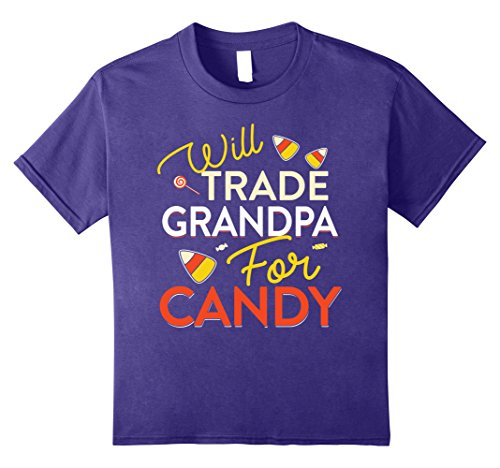 Mommy Daddy Daughter Halloween Costumes (Kids Will Trade Grandpa For Candy T-shirt Halloween Candy Corn 8 Purple)