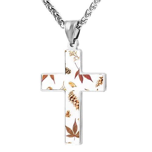 Printing Simple Cross Necklace Prayer Crucifix Pendant Choker Men