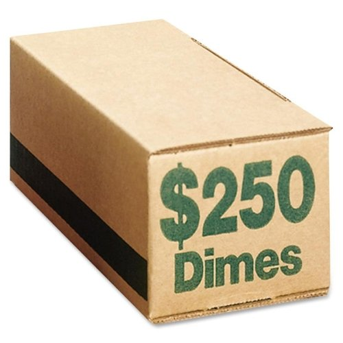 Wholesale CASE of 5 - PM Company SecurIT Coin Boxes-Coin Box, Dimes, 250, 50/CT, Green