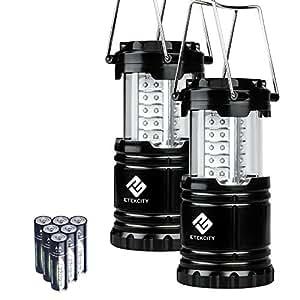 Etekcity CL10 Linterna LED de Camping, Lámpara Exterior Portátil Plegable Impermeable para Camping, Excursión, Senderismo, Aire Libre, Jardín, Patio, Garaje, Pesca, Luz de Emergencia, Exterior e Interior (Negro, 2 Unidades, con 6 Baterías AA)
