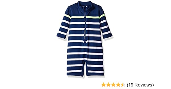 5a95630ab4 Amazon.com: Carter's Baby Boys' Long Sleeve Striped Full Body Rash Guard,  Navy, 6-9 Months: Clothing
