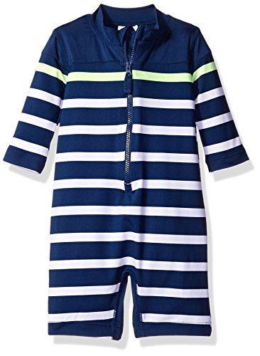 Carter's Baby Boys' Long Sleeve Striped Full Body Rash Guard, Navy, 24 Months