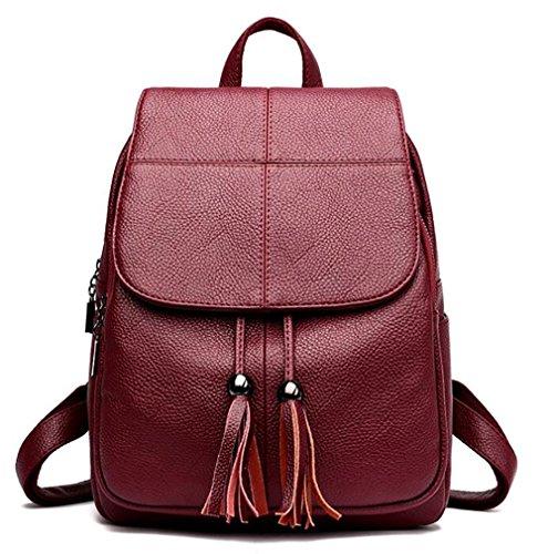pu 14 Backpack Fashion Women's Handbag Multi Leather Bag function 24 Casual 32cm Soft qPA6Ozqw