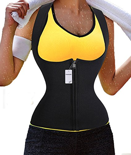 Ursexyly Sauna Waist Trainer, Hot Cincher Promotes Sweating During Exercise (2XL, Black 1, Zipper)