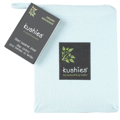 Kushies Organic Jersey Bassinet Fitted Sheet, Light Blue
