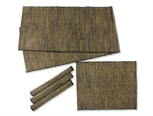 NOVICA Black and Beige Natural Fiber Cotton Table Runner and Placemats, Nature of Black' (Set of 4)