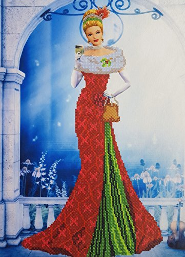 Bead Embroidery kit, Lady in Red, Needlepoint, Princess, Handcraft, Tapestry, Beaded Cross Stitch, kit. Beading ()