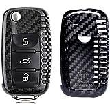 MODIPIM Keyless Entry Remote Cover Carbon Fiber Key Case Fob Holder Shell For VW Volkswagen Golf-7 Amarok CC Eos GTI Jetta Passat Tiguan 3-Buttons Smart Key