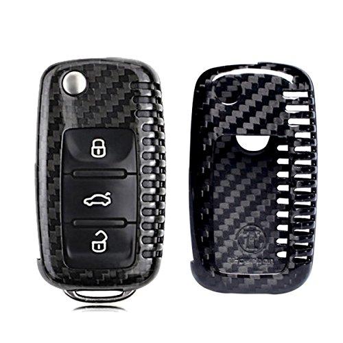 (MODIPIM Keyless Entry Remote Case Key Fob Cover Carbon Fiber Holder Shell for VW Volkswagen Golf Amarok CC Eos GTI Jetta Passat Tiguan 3-Buttons flip Key)