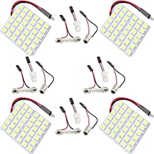 Everbright 4-Pack Super White New Energy-saving 5050 36-SMD LED Panel Dome Lamp Auto Car Interior Reading Plate Light Roof Ceiling Interior Wired Lamp With 4× BA9S Adapter,4 × T10 Adapter,4 × Festoon Adapter(31mm-41mm) (DC-12V)