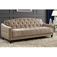 Novogratz Vintage Tufted Sofa Sleeper II (Taupe Velour)